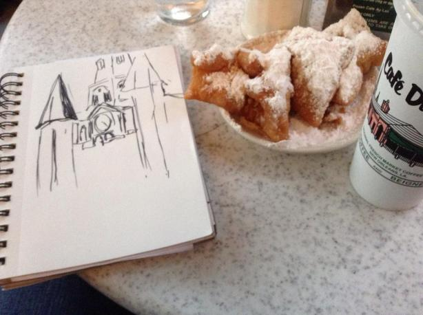 A little artsy-smartsy fantasy I lived out: sketching the St. Louis Cathedral while sitting at the Café Du Monde.