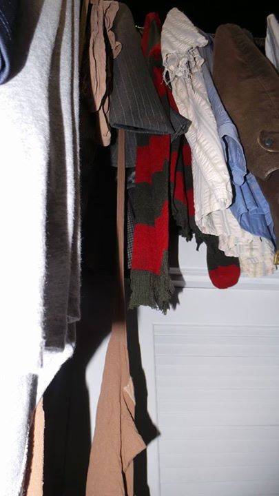 This seems like a random weird image, but it's from a section of the house that makes you feel like you're in the closet being attacked by Myers, and there are two shirts hanging in the closet paying homage to two former Halloween Horror Nights houses: Freddy Krueger's sweater, and to the right of that, Leatherface's white shirt.